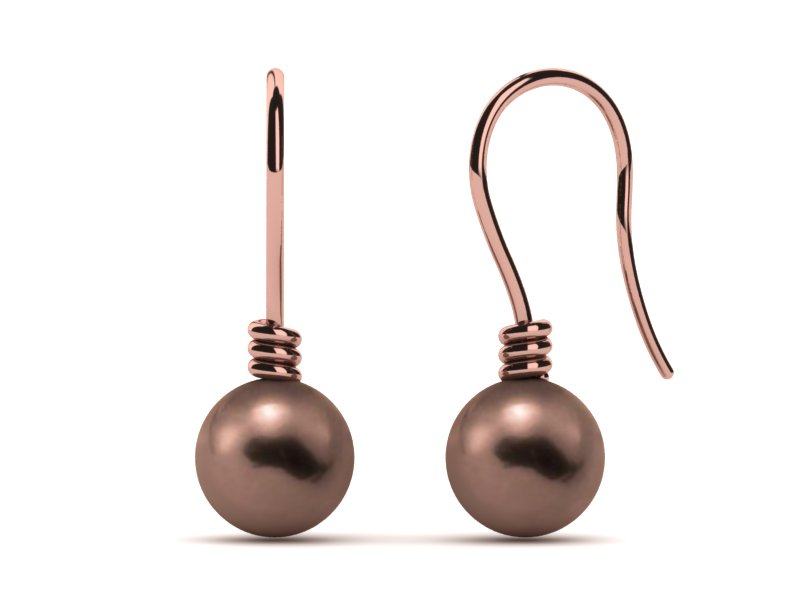 Mocha Pearl Twisted Shepherd Hook Earring