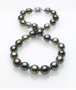 Multicolor Tahitian Baroque Pearl Necklace 10mm x 12mm AA Quality
