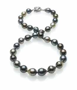 Multicolor Tahitian Baroque Pearl Necklace 8mm x 10mm - 16 Inches