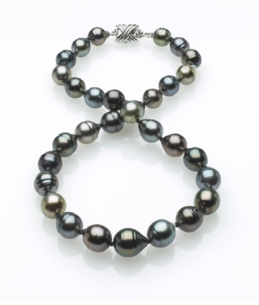 Multicolor Tahitian Baroque Pearl Necklace 9mm x 11mm TRUE AA Quality