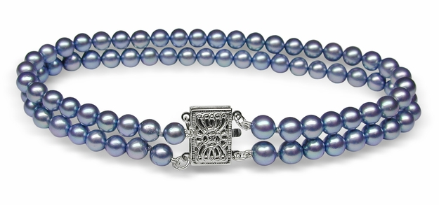 Mystic Blue Japanese Akoya Cultured Pearl Bracelet