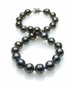 Peacock Color Tahitian Baroque Pearl Necklace 11mm x 13mm TRUE AAA Quality