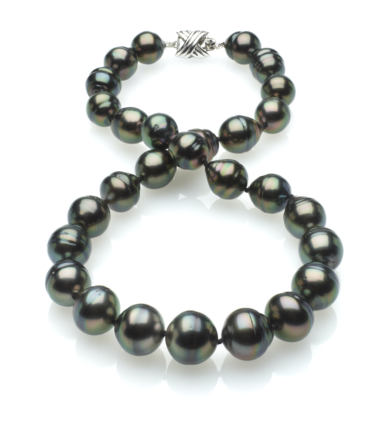 Peacock Color Tahitian Baroque Pearl Necklace 11mm X 13mm