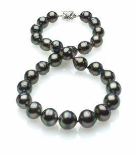 Peacock Color Tahitian Baroque Pearl Necklace 11mm x 13mm AA Quality - 16 Inches