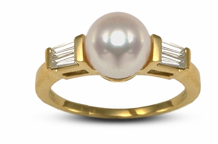 Pearl and Diamond Baguette Sailor Ring