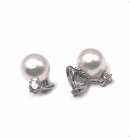 American Style South Sea Pearl & Diamond Earrings | Various Sizes from 10mm to 15mm