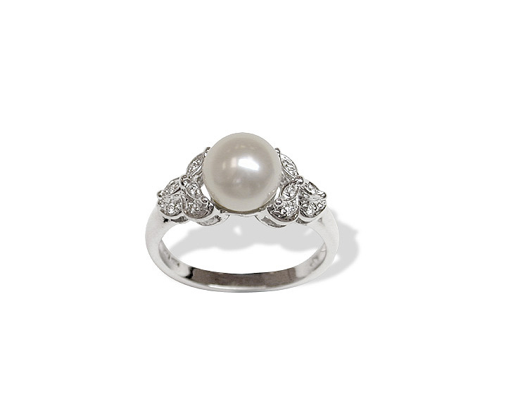Pearl and Leaf Japanese Akoya Ring