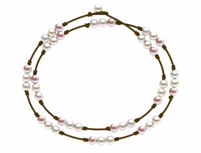 Pearl and Leather St. Barts Triple Pearl Necklace