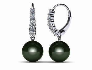 Tahitian Pearl Earring Tapered Lever Back .62 carats t.d.w.