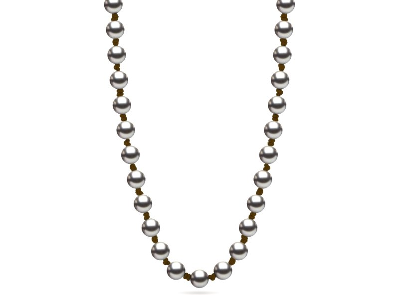 Pearl Leather St. Barts Necklace Grey Pearls