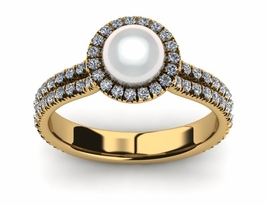 Double Band Halo Pearl Ring