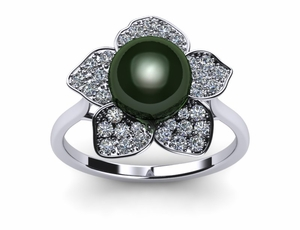 pearl-rings-tahitian-diamond-black-south-sea-pearl-daffodil-style
