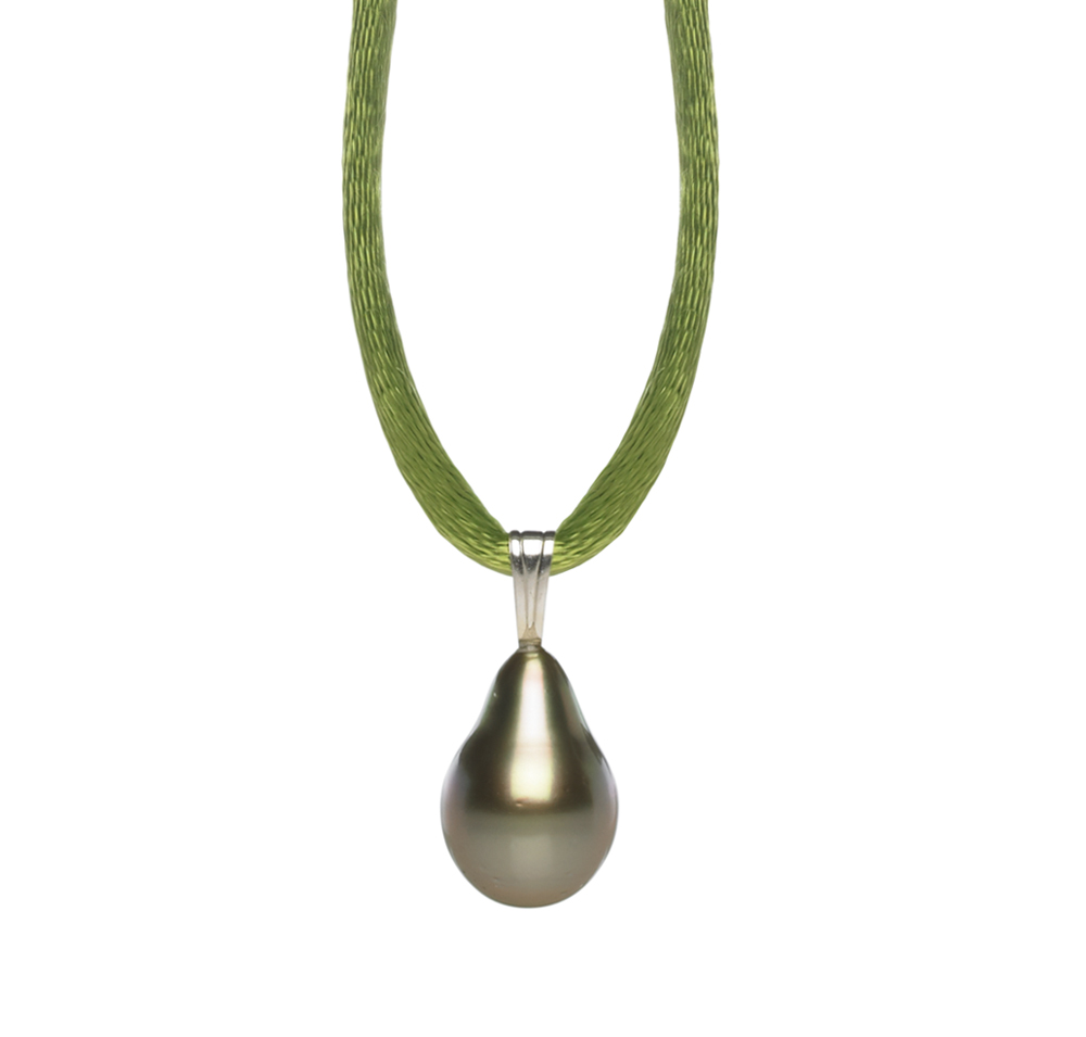 Pearl Silk Cord Necklace with Black Tahitian Pearl
