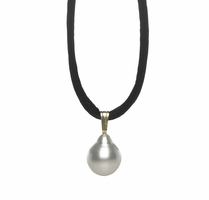 Pearl Silk Cord Necklace with White South Sea Pearl