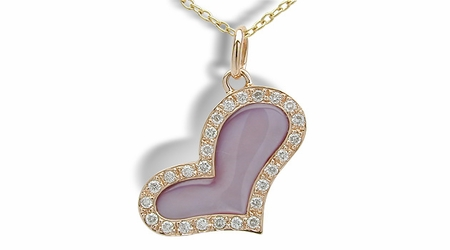 Pink Heart a Mother of Pearl Pendant