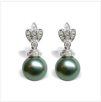 Pocahontas Black Tahitian South Sea Pearl Earrings