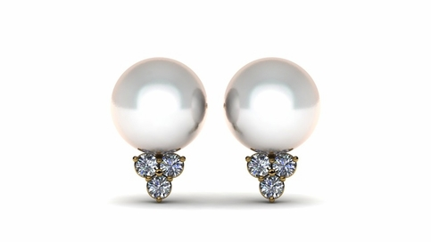 Princess Pearl & Diamond Earring