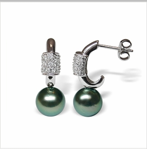 Sidonia a Black Tahitian South Sea Cultured Pearl Earrings