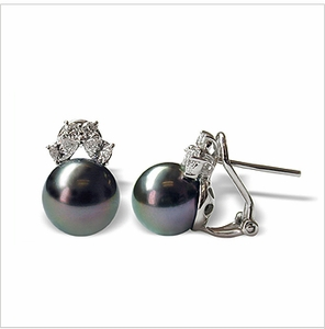 Siona a Black Tahitian Cultured Cultured Pearl Earring