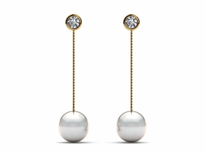 South Sea Bezel Diamond Earring Threader