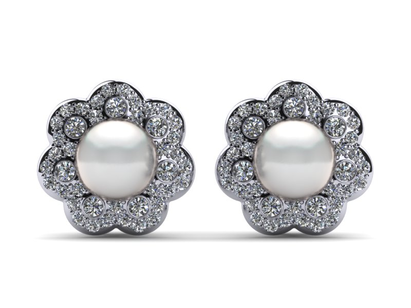 South Sea Pearl Anemone Flower Earring