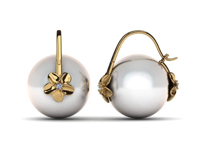 South Sea Pearl Arc De Triomphe Double Hibiscus Earring