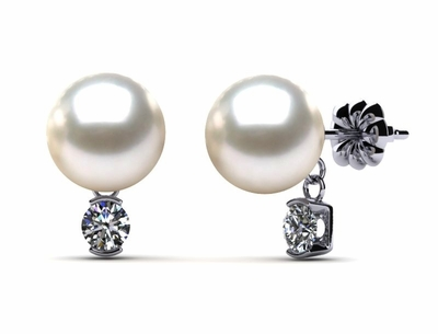 South Sea Pearl & Diamond Dangle Earring .26 carats t.d.w.
