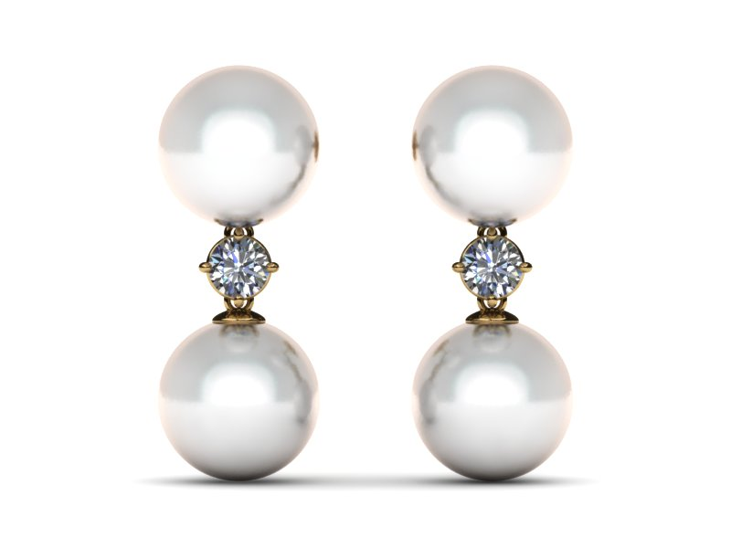 South Sea Pearl Diamond Double Drop Earring