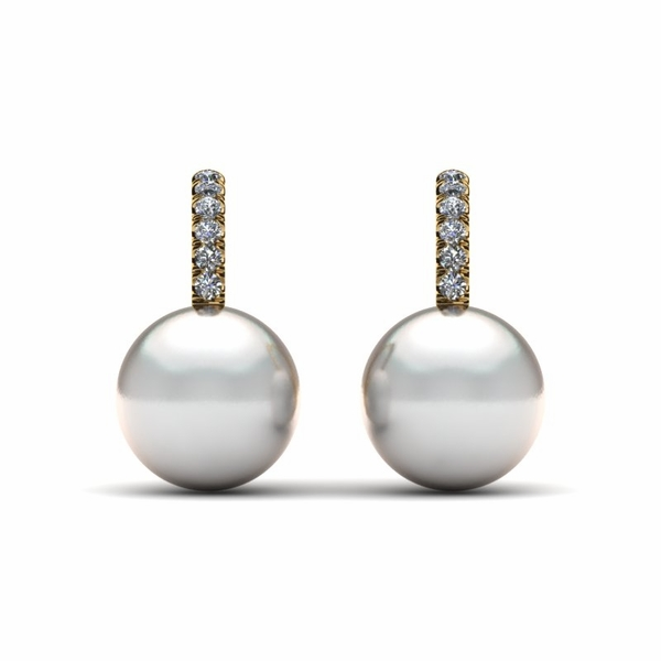 South Sea Pearl Diamond Lever Back Earring