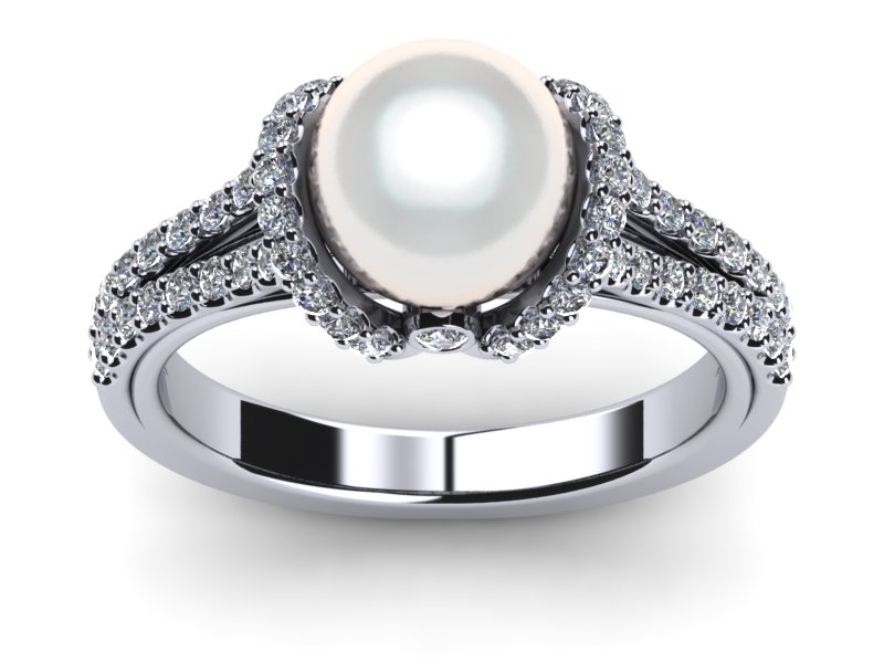 South Sea Pearl Diamond Ribbon Ring