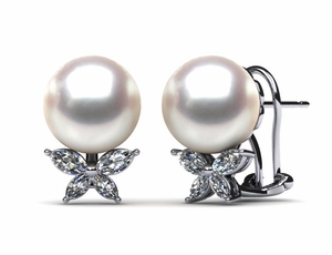 South Sea Pearl & Diamond X Earring .42 carats t.d.w.