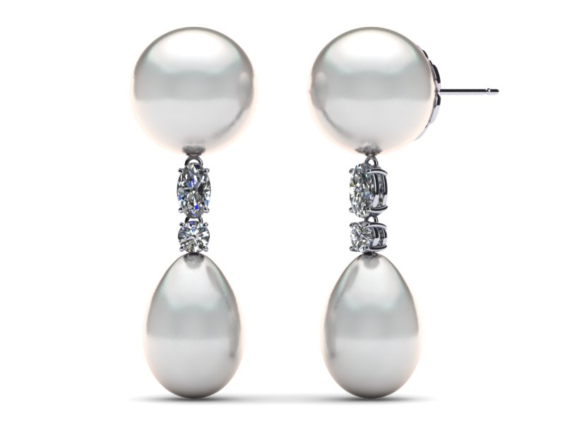 South Sea Pearl Earring Round Oval Diamond Drop