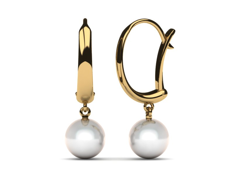 South Sea Pearl Earring Sculpted Lever Back