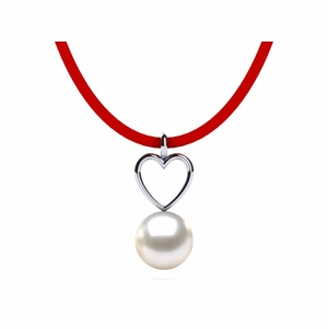 South Sea Pearl Leather Heart Necklace