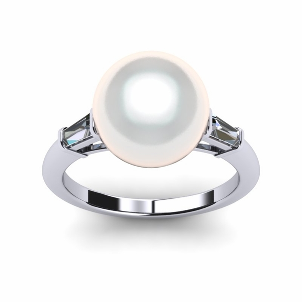 South Sea Pearl Ring White Baguette