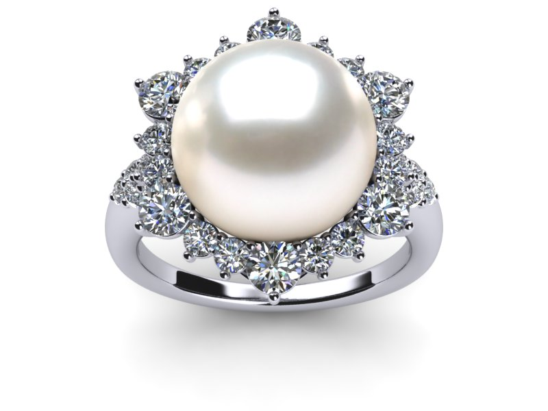 south sea pearl ring with diamonds classic style
