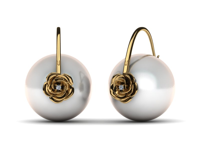 South Sea Pearl Rose Earring
