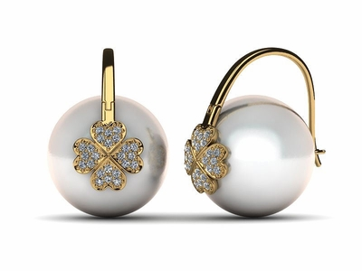South Sea Pearl Shamrock Earring