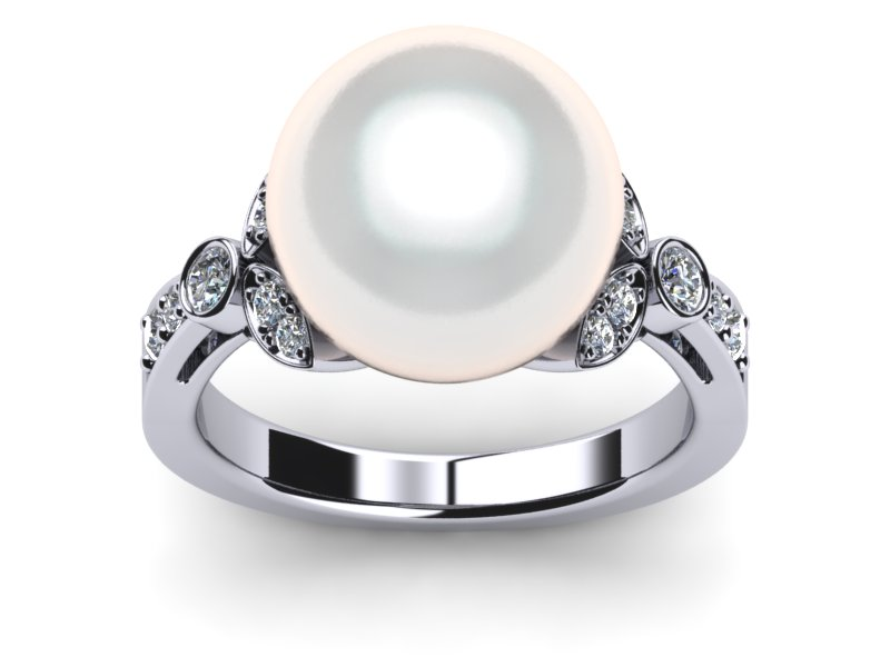 South Sea Pearl White Flower Ring