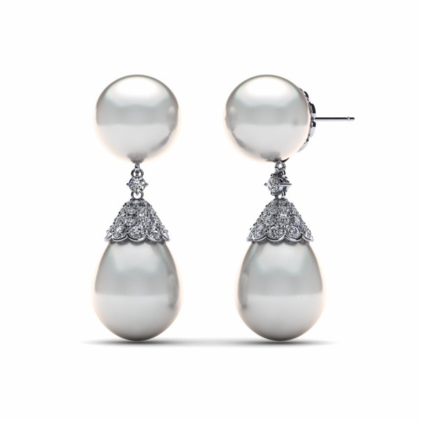 South Sea Pearl with Pav� Diamond Cap