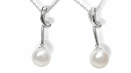 Spring Drop White Japanese Akoya Cultured Pearl Pendant