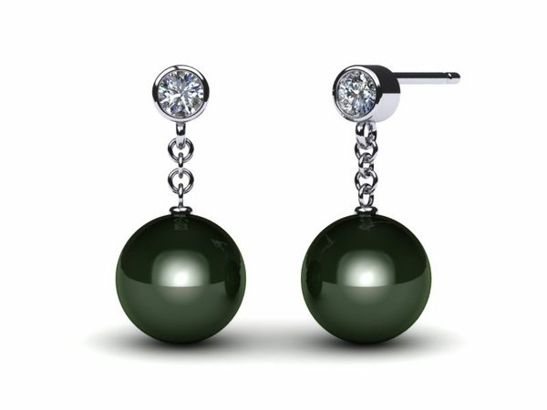 Tahitian Diamond Drop Pearl Earring