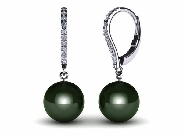 Tahitian Diamond Lever Back Pearl Earring