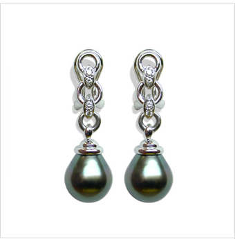 Tahitian Drop Pearl and Diamond Earrings