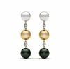 Tahitian, Golden South Sea Triple Pearl Earring