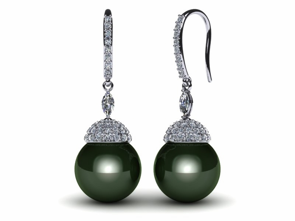 Tahitian Pearl and Diamond Crown Drop Earring