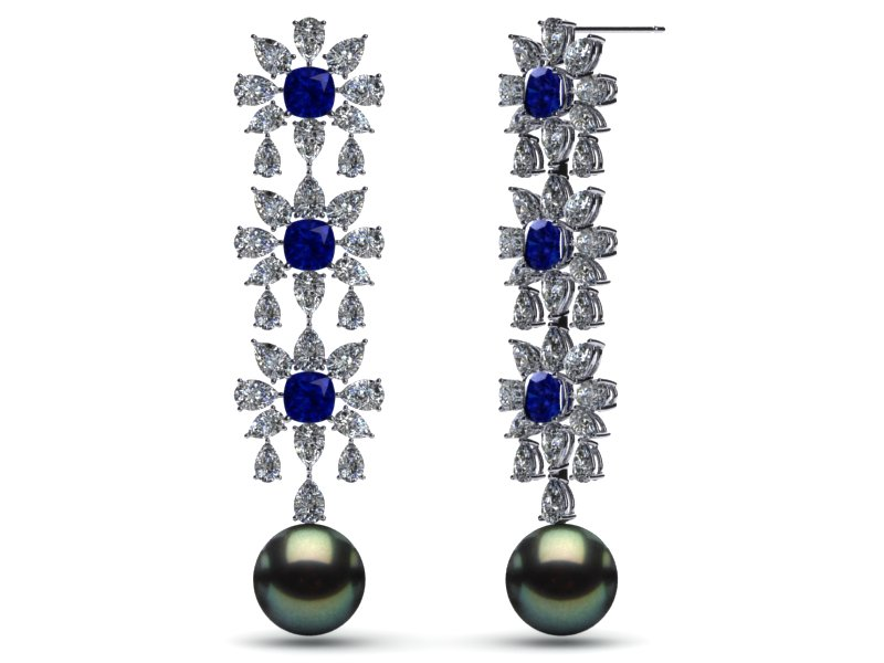 Tahitian Pearl Crown Jewel Earring