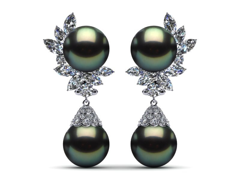 Tahitian Pearl Earring Diamond Cluster With Cap