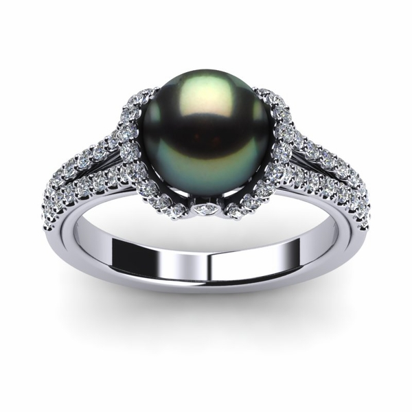 Tahitian Pearl Diamond Ribbon Ring