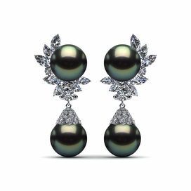 Tahitian Pearl Earring Diamond Cluster with Cap 4.37 carats t.d.w.